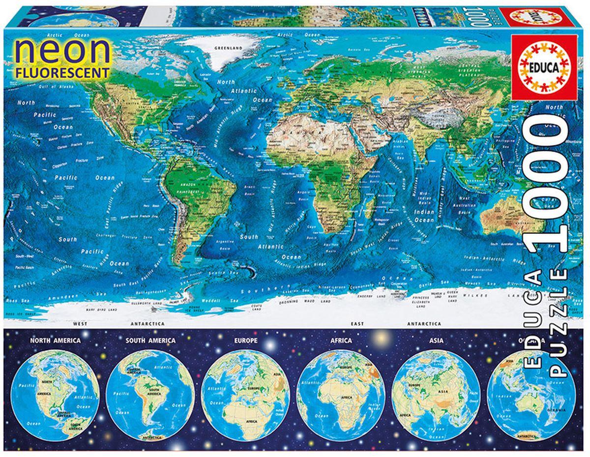 Educa Пазл Неоновая карта мира16760Пазл 1000 деталей Неоновая карта мира. Размер собранного пазла 68х48см