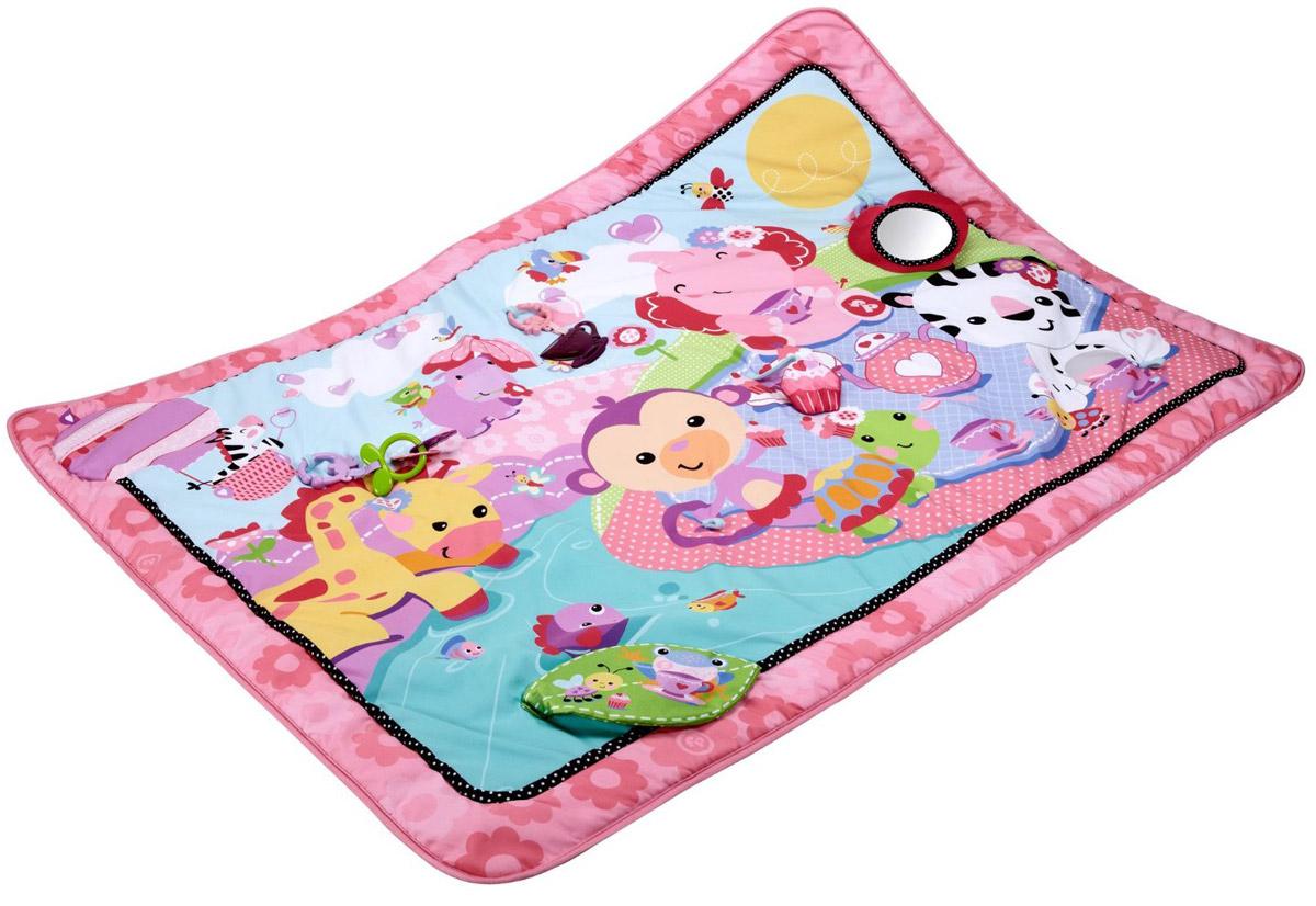 Fisher Price Развивающий коврик цвет розовыйBFL58Красочный розовый коврик Fisher Price с дополнительными съемными элементами порадует каждого малыша! Коврик предназначен для игр ребенка с самого рождения. Малыш может лежа на животике изучать яркое поле, в котором прячется много приятных и удивительных открытий. На просторном мягком коврике смогут разместиться сразу несколько детей и с большим удовольствием изучать красочные детали и рисунки. Здесь малыш найдет много приятных на ощупь и на слух элементов: шуршащие листики, разнообразные колечки и подвески. Он будет с удовольствием смотреться в специальное зеркальце, выполненное из безопасного материала. На коврике имеется мягкий прорезыватель, который малыш сможет погрызть, когда у него начнут резаться зубки. Развивающий коврик Fisher Price подарит малышу много удивительных открытий. Детали приятные на ощупь, их интересно щупать, изучать цвета и формы, можно размещать дополнительные элементы или использовать съемные игрушки отдельно от коврика. Подходит для машинной...