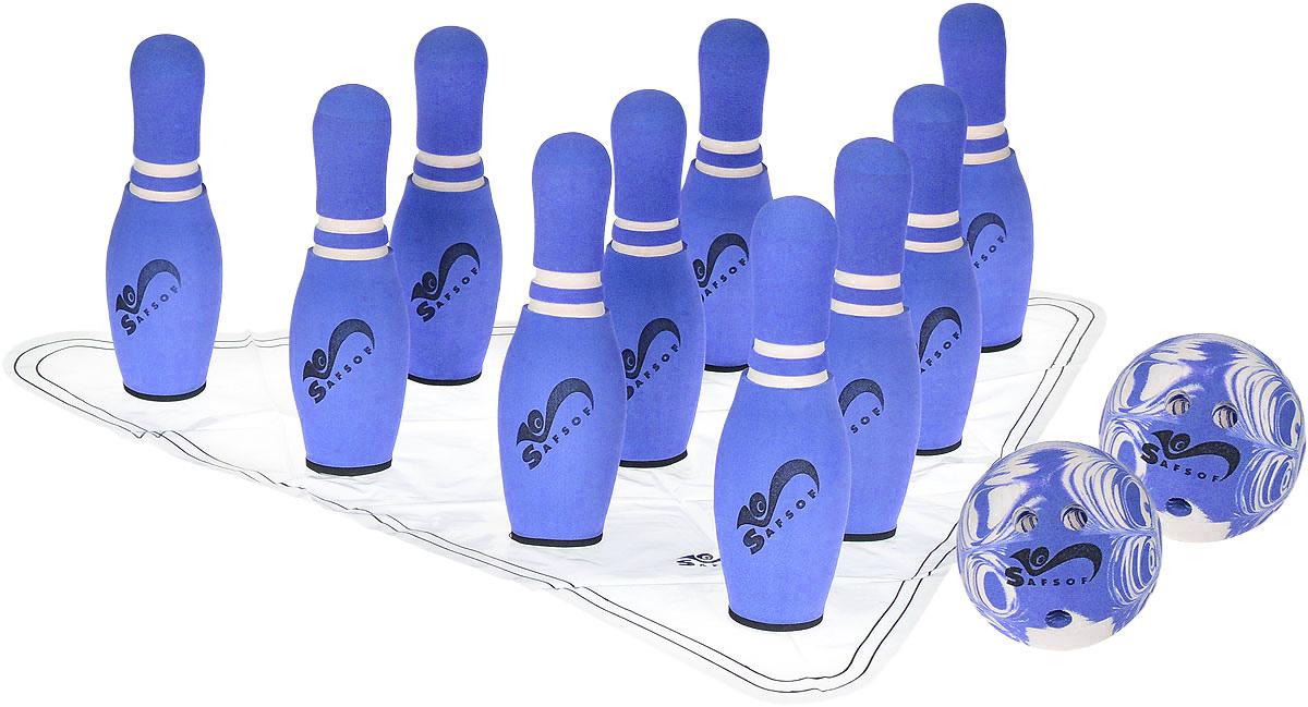 Safsof Игровой набор Боулинг цвет белый синий диаметр шара 14 смJBB-07-2(В)_белый, синийИгровой набор Safsof Боулинг, изготовленный из вспененной резины, состоит из десяти кеглей и двух шаров. Набор выполнен из мягкого материала, что обеспечивает безопасность ребенку. Суть игры в боулинг - сбить шаром максимальное количество кеглей. Число игроков и количество туров - произвольное. Очки, набранные с каждым броском мяча, рассматриваются как количество сбитых кегель. Расстояние, с которого совершается бросок, определяется игроками. Каждый игрок имеет право на два броска в одной рамке (рамка - треугольник, на поле которого выстраиваются кегли перед каждым первым броском очередного игрока). Бросок, при котором все кегли сбиты, называется страйк и обозначается как Х. Если все кегли сбиты первым броском, второй бросок не требуется: рамка считается закрытой. Призовые очки за страйк - это сумма кеглей, сбитых игроком следующими двумя бросками. Выигрывает тот игрок, который в сумме набирает больше очков.