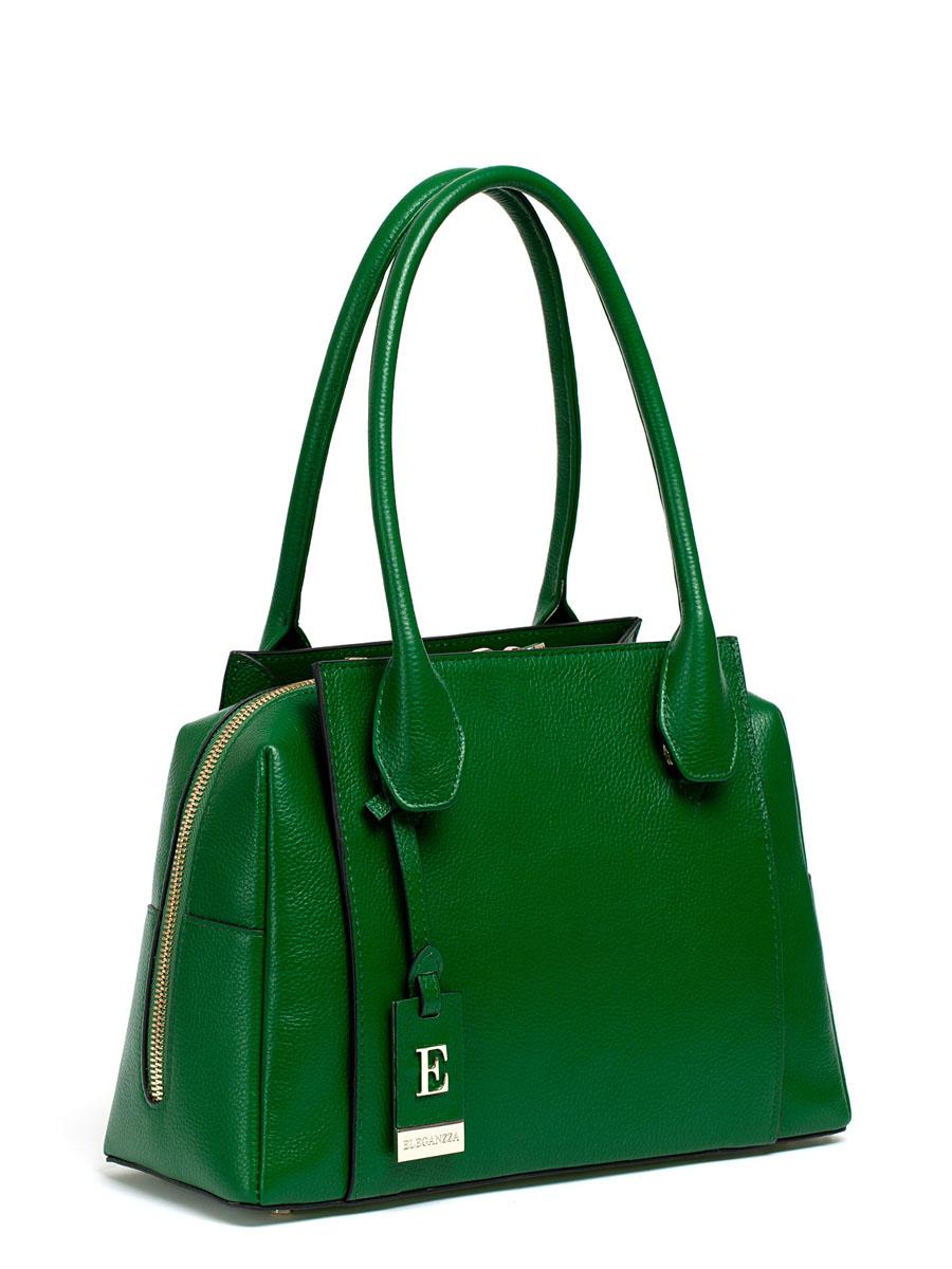 Сумка женская ELEGANZZA, цвет: зеленый. Z28A-1118Z28A-1118Женская сумка торговой марки ELEGANZZA из натуральной кожи. Сумка закрывается на металлическую молнию. Внутри - два отделения, разделенные средником на молнии, в одном имеется карман на молнии, в другом - карман для мобильного телефона и открытый карман. Модель имеет ножки на дне, а так же карманы на передней и задней стенках. Высота ручек - 20 см.