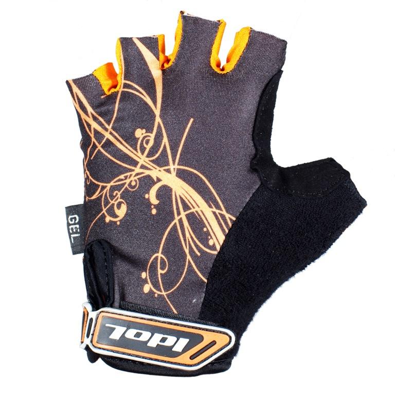 Перчатки велосипедные Idol, цвет: черный, оранжевый 1573. Размер S1573Женские велосипедные перчатки без пальцев Idol предназначены для тех, кто занимается велоспортом, велотуризмом или просто катается на велосипеде. Рабочая поверхность велоперчаток выполнена из высококачественной синтетической кожи серого цвета, а верхняя часть - из лайкры, хорошо отводящей влагу и, благодаря своей упругости, плотно сидящей на руке. На запястье перчатка фиксируется прочной липучкой. Высокое качество, технически совершенные материалы, оригинальный стильный дизайн, функциональность и долговечность выделяют велоперчатки Idol среди прочих.