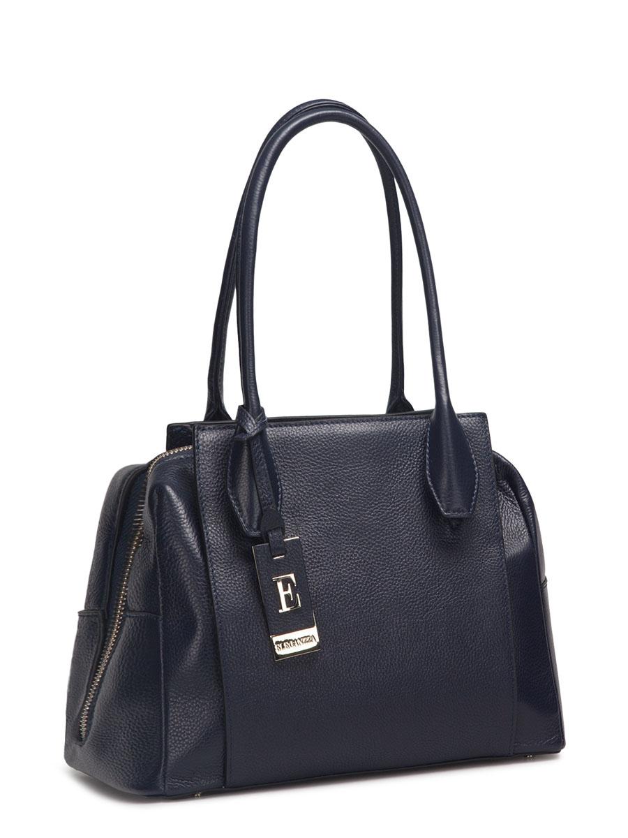 Сумка женская ELEGANZZA, цвет: темно-синий. Z28A-1118Z28A-1118Женская сумка торговой марки ELEGANZZA из натуральной кожи. Сумка закрывается на металлическую молнию. Внутри - два отделения, разделенные средником на молнии, в одном имеется карман на молнии, в другом - карман для мобильного телефона и открытый карман. Модель имеет ножки на дне, а так же карманы на передней и задней стенках. Высота ручек - 20 см.