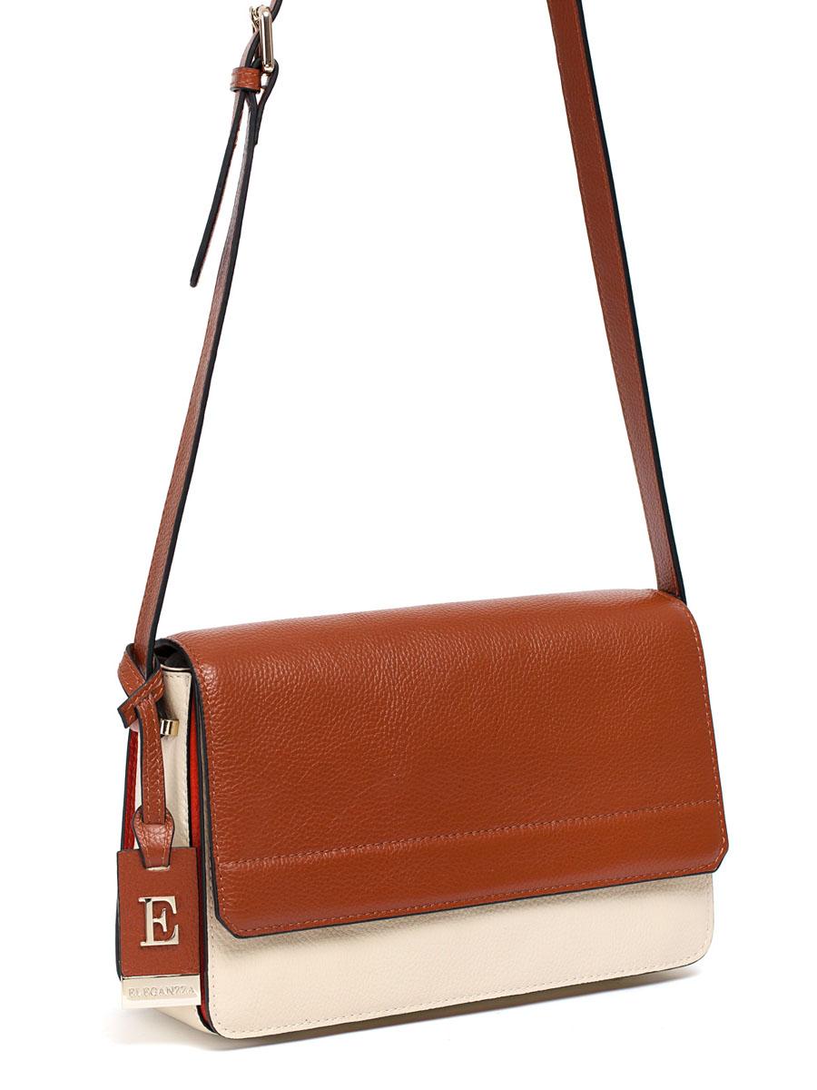 Сумка женская ELEGANZZA, цвет: бежевый, светло-коньячный, оранжевый. Z28A-5602-1Z28A-5602-1Женская сумка торговой марки ELEGANZZA из натуральной кожи. Сумка закрывается на магнит. Внутри - три отделения, которые разделены перегородками. В среднем отделении есть карман на молнии, карман для мобильного телефона и открытый карман. Модель имеет ножки на дне, а так же карман на задней стенке. Длина наплечного ремня - 120 см.