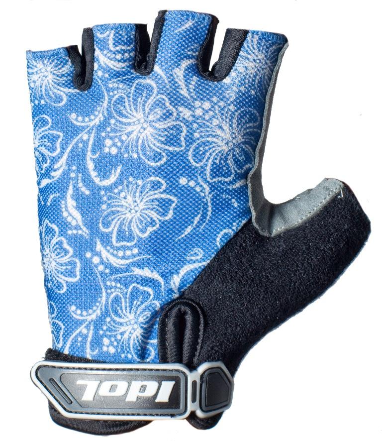 Перчатки велосипедные Idol, цвет: черный, синий. 1576. Размер M1576Женские велосипедные перчатки без пальцев Idol предназначены для тех, кто занимается велоспортом, велотуризмом или просто катается на велосипеде. Рабочая поверхность велоперчаток выполнена из высококачественной синтетической кожи серого цвета, а верхняя часть - из лайкры, хорошо отводящей влагу и, благодаря своей упругости, плотно сидящей на руке. На запястье перчатка фиксируется прочной липучкой. Высокое качество, технически совершенные материалы, оригинальный стильный дизайн, функциональность и долговечность выделяют велоперчатки Idol среди прочих.