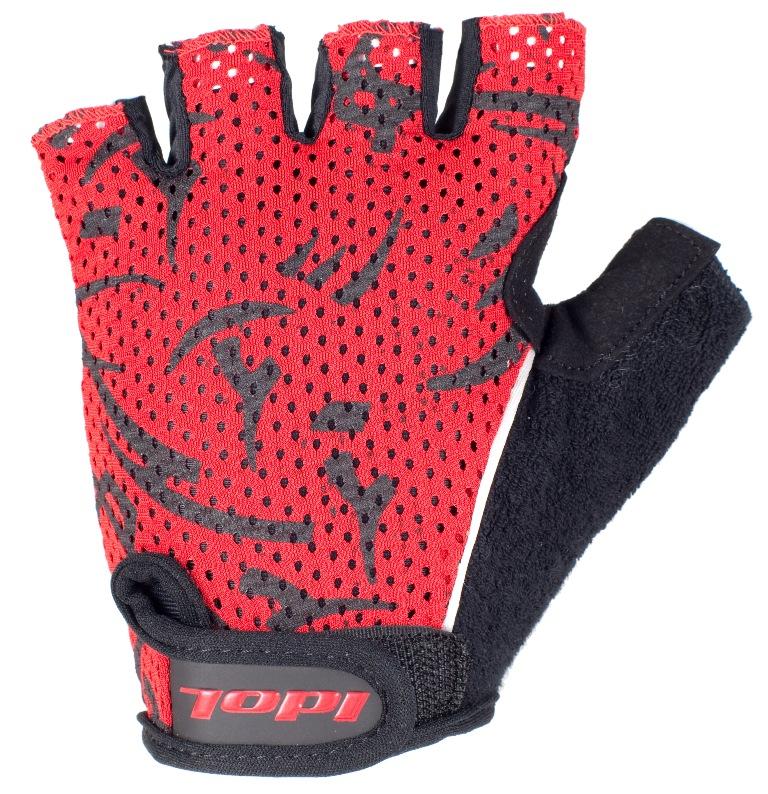 Перчатки велосипедные Idol, цвет: черный, красный. 1592. Размер L1592Удобные велосипедные перчатки без пальцев Idol предназначены для тех, кто занимается велоспортом, велотуризмом или просто катается на велосипеде. Рабочая поверхность велоперчаток выполнена из плотного сетчатого материала, а верхняя часть - из лайкры, хорошо отводящей влагу и, благодаря своей упругости, плотно сидящей на руке. На запястьях перчатки фиксируются прочными липучками. Для удобства снятия каждая перчатка оснащена двумя небольшими петельками. Высокое качество, технически совершенные материалы, оригинальный стильный дизайн, функциональность и долговечность выделяют велоперчатки Idol среди прочих.