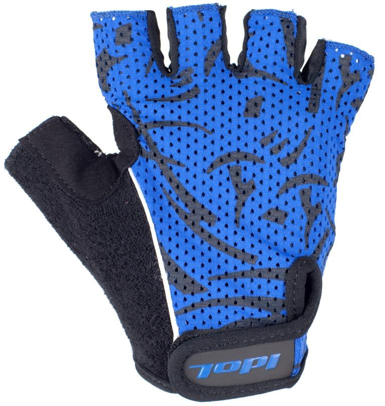 Перчатки велосипедные Idol, цвет: черный, синий. 1592. Размер M1592Удобные велосипедные перчатки без пальцев Idol предназначены для тех, кто занимается велоспортом, велотуризмом или просто катается на велосипеде. Рабочая поверхность велоперчаток выполнена из плотного сетчатого материала, а верхняя часть - из лайкры, хорошо отводящей влагу и, благодаря своей упругости, плотно сидящей на руке. На запястьях перчатки фиксируются прочными липучками. Для удобства снятия каждая перчатка оснащена двумя небольшими петельками. Высокое качество, технически совершенные материалы, оригинальный стильный дизайн, функциональность и долговечность выделяют велоперчатки Idol среди прочих.
