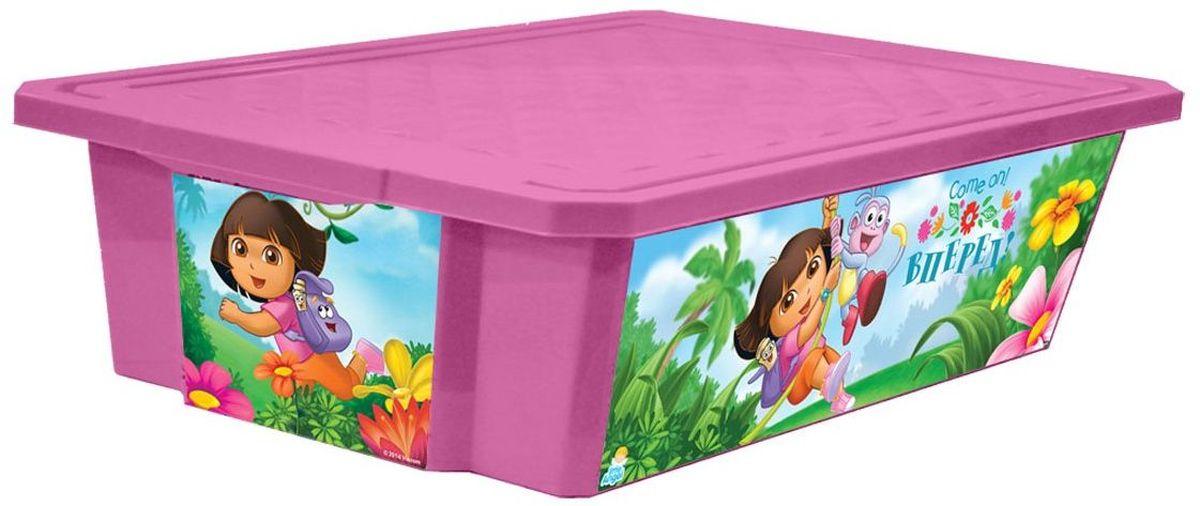 Little Angel Ящик для игрушек X-Box Даша путешественница на колесах 30 лLA0024DE1Детский ящик для игрушек Little Angel на колесах выполнен из прочного материала и украшен забавным изображением. В нем можно удобно и компактно хранить белье, одежду, обувь или игрушки. Ящик оснащен плотно закрывающейся крышкой, которая защищает вещи от пыли, грязи и влаги. Ящик оснащен четырьмя колесами. Декор ящика износоустойчив, его можно мыть без опасения испортить рисунок. Прочный каркас ящика позволит хранить как легкие вещи, так и более тяжелый груз. Такой ящик непременно привлечет внимание ребенка и станет незаменимым для хранения игрушек, книжек и других детских принадлежностей. Он отлично впишется в детскую комнату и поможет приучить ребенка к порядку.
