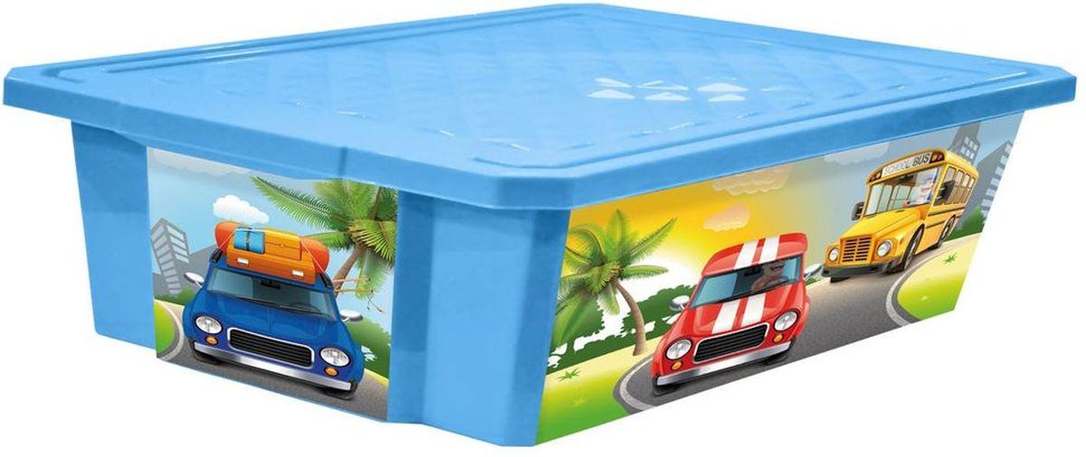 Little Angel Детский ящик для хранения игрушек на колесах X-BOX City Cars 30 л цвет голубой небесныйLA1024BSУниверсальный ящик для хранения, декорированный с помощью технологии In Mould Labeling (IML). Теперь наш ящик - привлекательный элемент интерьера, а не просто функциональное изделие. Декор ящика износоустойчив, его можно мыть без опасения испортить рисунок. Прочный каркас ящика позволит хранить как легкие вещи, так и более тяжелый груз. Оснащен роликами для удобства перемещения.