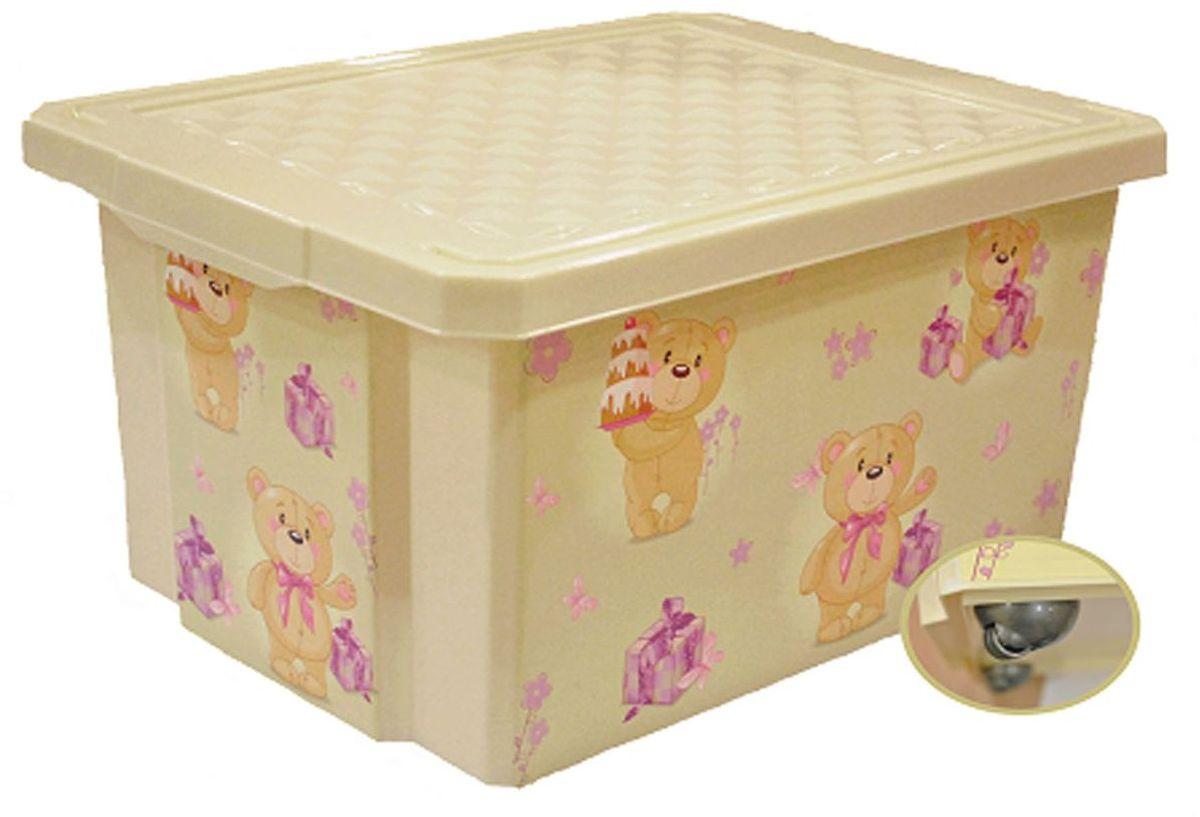 Little Angel Детский ящик для хранения игрушек на колесах X-BOX Bears 57 л цвет слоновая костьLA1025IRДетский ящик для хранения игрушек декорирован с помощью технологии IML, которая придает ему не только привлекательный дизайн, но и дополнительную прочность и износоустойчивость. Декор ящика можно мыть без опасения испортить рисунок. Прочный каркас ящика позволяет хранить как легкие вещи, так и более тяжелый груз. Оснащен роликами для удобства перемещения.