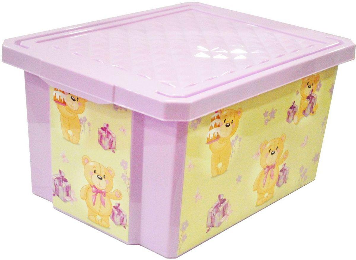 Little Angel Детский ящик для хранения игрушек на колесах X-BOX Bears 57 л цвет лавандовыйLA1025LVДетский ящик для хранения игрушек декорирован с помощью технологии IML, которая придает ему не только привлекательный дизайн, но и дополнительную прочность и износоустойчивость. Декор ящика можно мыть без опасения испортить рисунок. Прочный каркас ящика позволяет хранить как легкие вещи, так и более тяжелый груз. Оснащен роликами для удобства перемещения.