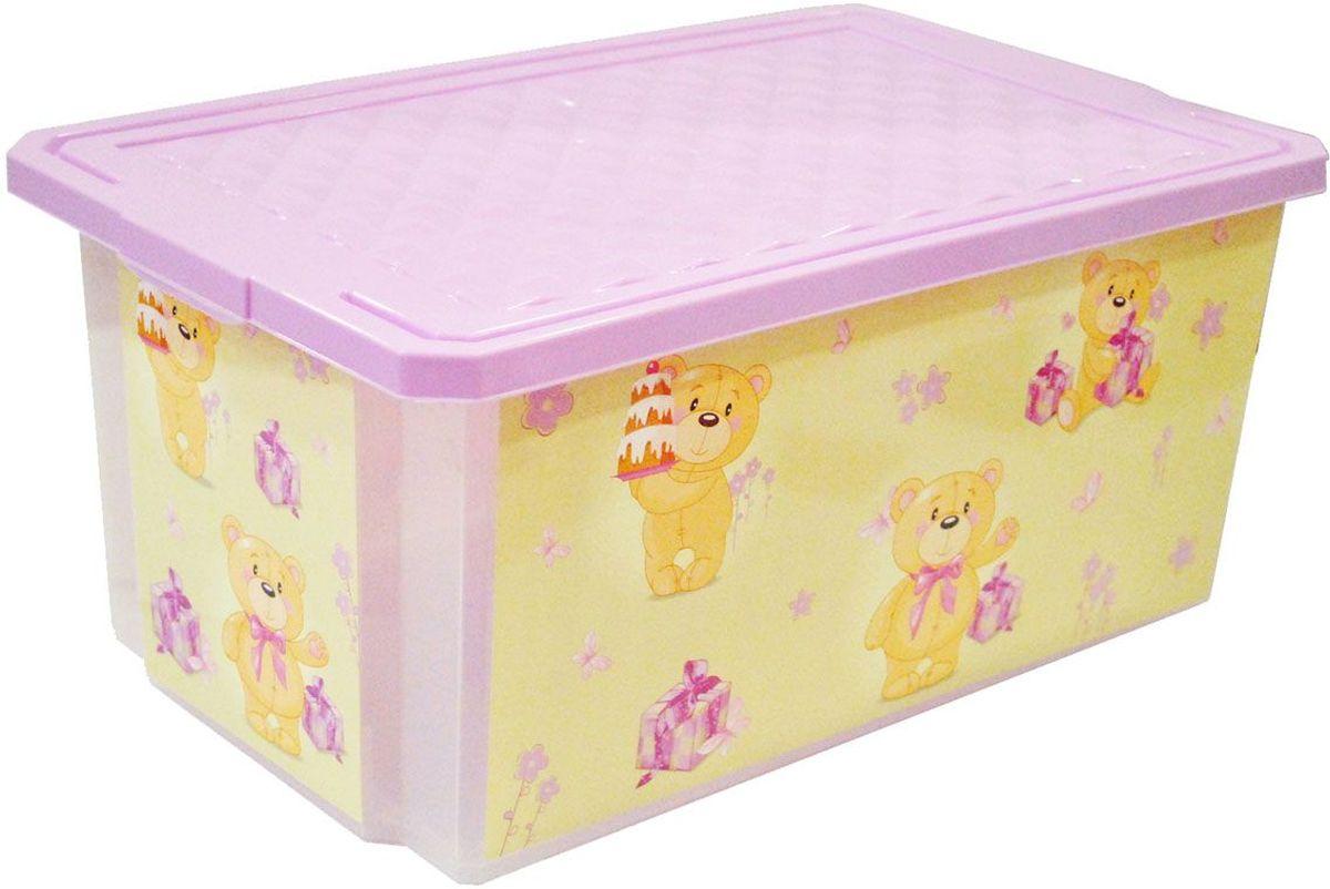 Little Angel Детский ящик для хранения игрушек X-BOX Bears 12 л цвет лавандовый