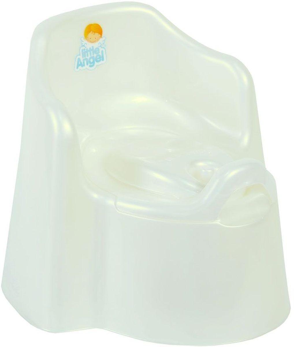 Little Angel Горшок детский Little King с крышкой цвет белый перламутрLA2703PLДети в восторге от этого кресла-горшка, ведь это личный маленький туалет-трон. Специальный дизайн спинки, повторяющий очертания детской спины, высокие и удобные подлокотники позволяют ребенку комфортно сидеть на нашем горшке. Внутренняя часть горшка легко вынимается и моется отдельно. Надежная защита от брызг одинаково подходит как девочкам, так и мальчикам. Вырез на задней спинке горшка в форме озорной улыбки позволяет его легко переносить. При необходимости можно закрыть крышкой.
