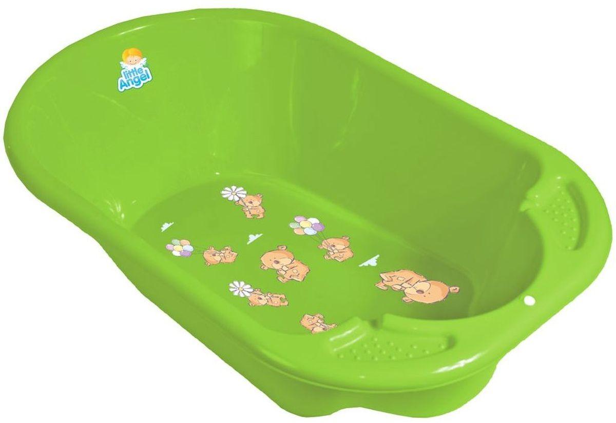 Little Angel Ванночка детская Дельфин с дизайном Bears цвет салатовый ( LA2904GL )