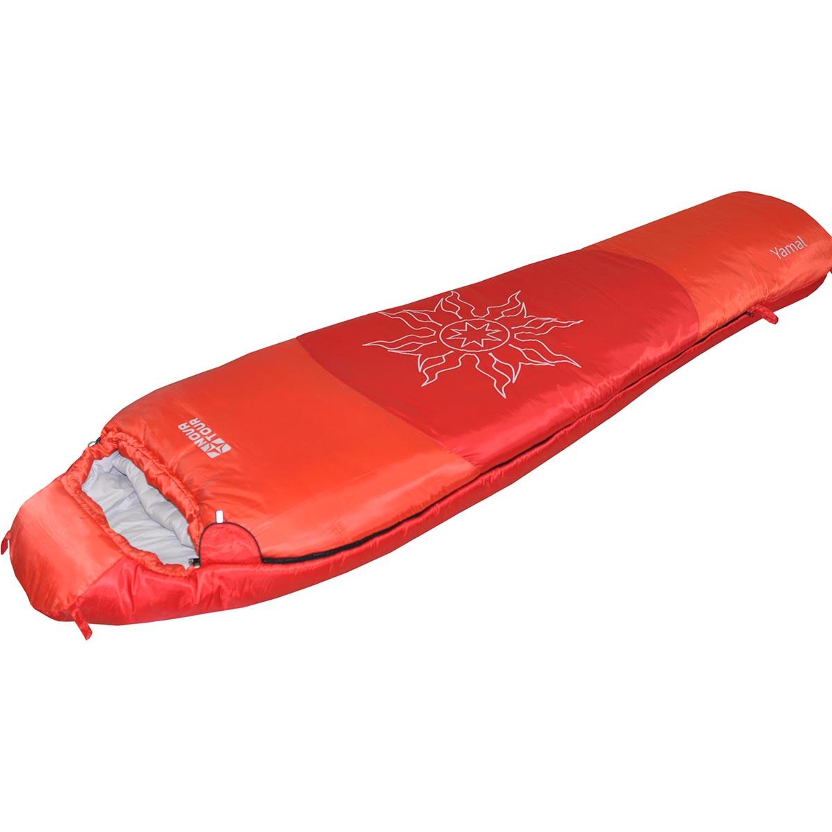 Спальный мешок Nova Tour Ямал -30 V2, цвет: красный, левосторонняя молния95419-001-LeftСпальный мешок конструкции - кокон и синтетическим наполнителем для использования при очень низких температурах. Утягивающийся капюшон, шейный воротник - сохраняют тепло. Двухзамковая молния позволяет состегнуть два спальных мешка левого и правого исполнения в один двойной. Компрессионный мешок в комплекте.