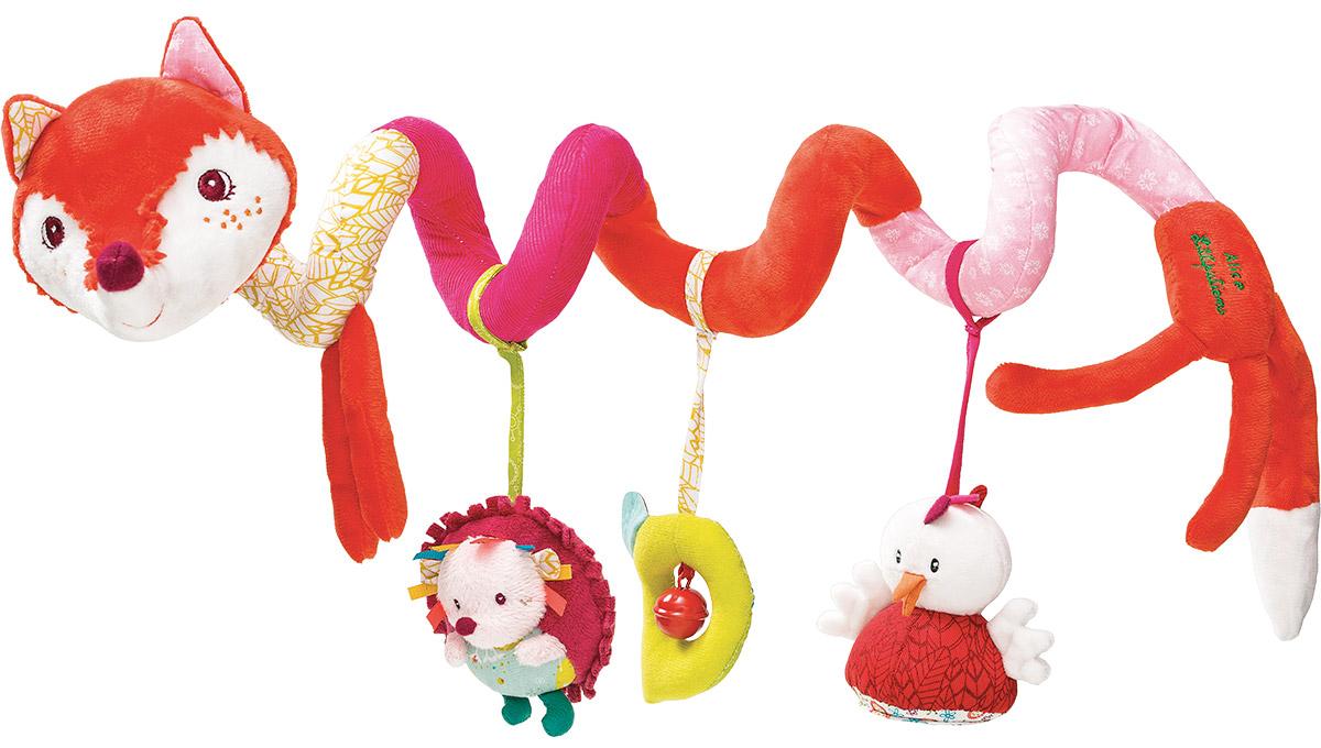Lilliputiens Игрушка-подвеска Лиса Алиса86709Очаровательная спиральная игрушка-подвеска Lilliputiens Лиса Алиса предназначена для детишек с самого рождения. Она легко крепится на спинку стульчика, кроватки, манежа или автокресла. У лисички мягкий шуршащий хвостик и несколько интересных подвесок, которые успокоят малыша звуковыми эффектами. Среди них ежик-погремушка, небольшой колокольчик в мягкой рамке и зеркальце в виде симпатичного цыпленка. Игрушка выполнена из безопасных гипоаллергенных материалов. Яркие цвета, разная текстура и звук надолго привлекут внимание ребенка. Подвеска легко и быстро снимается, не требует дополнительных элементов для крепления и станет незаменимой игрушкой в поездке. Игрушка-подвеска Lilliputiens Лиса Алиса развивает мелкую моторику, осязательные навыки, слух и цветовое восприятие ребенка.