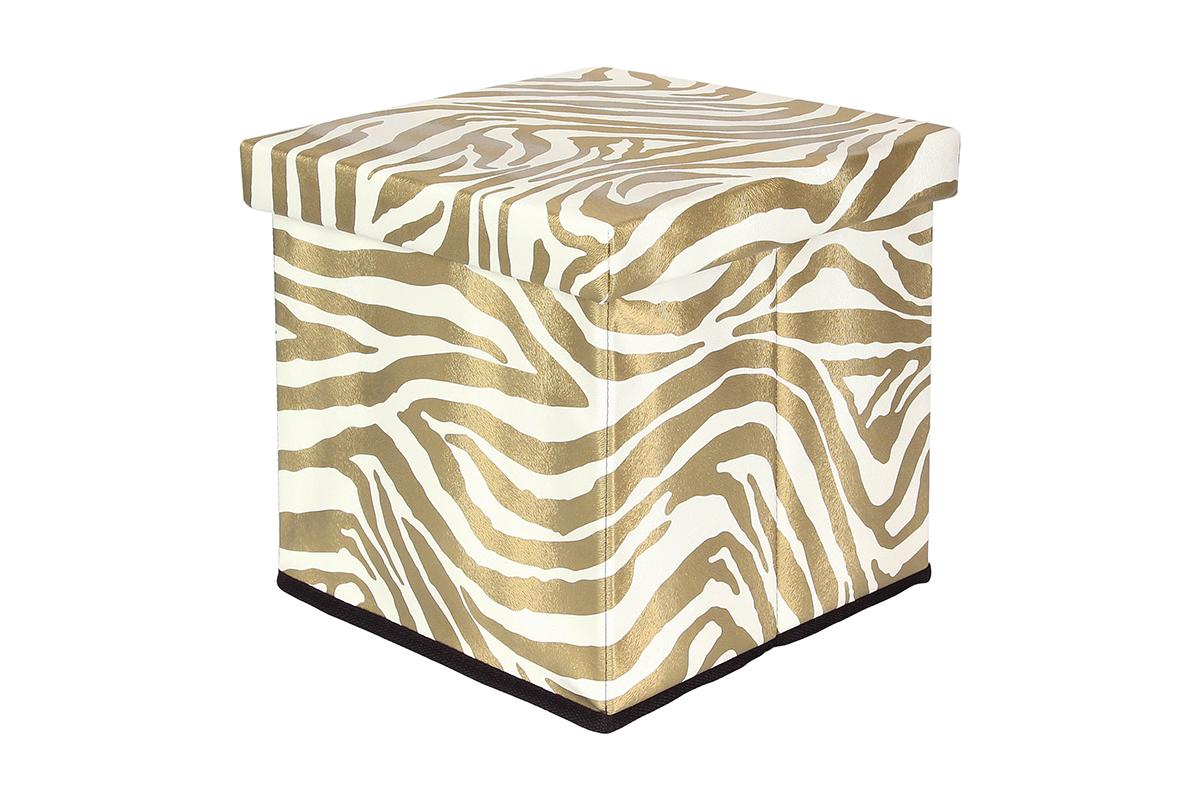 Пуф складной El Casa Зебра золото с ящиком для хранения, цвет: золотистый, 33 х 33 х 31 см840010Пуф понравится всем ценителям оригинальных вещей. Благодаря удобной конструкции складывается и раскладывается одним движением. В сложенном виде пуф занимает минимум места, его легко хранить и перевозить. Изготовлен из экологически чистого материала.