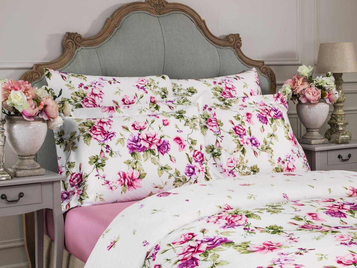 Комплект белья Togas Альба, 2-спальный, наволочки 50х70, цвет: розовый30.07.28.0428100% тенсель, 300ТС Классический крой, яркий флоральный принт, широкая канва по периметру подушек, однотонная простыня.