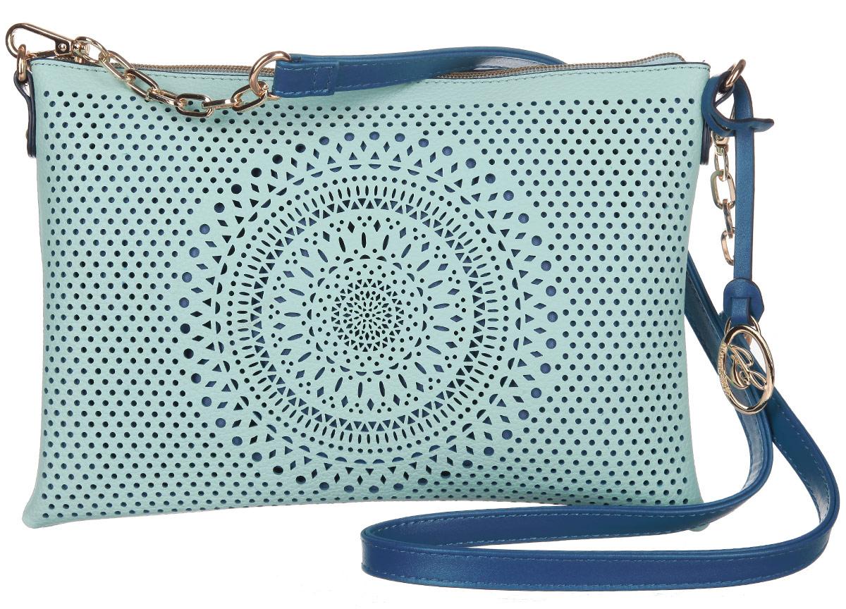 Сумка-клатч женская Jane Shilton, цвет: мятный, синий. 20662066mintСтильная женская сумка-клатч Jane Shilton, выполненная из искусственной кожи, дополнена фирменным брелоком. Лицевая сторона оформлена декоративной перфорацией. Изделие имеет одно основное отделение, которое закрывается на застежку-молнию. Внутри находятся прорезной карман на застежке-молнии и накладной открытый карман. В комплект входит съемный плечевой ремень. Роскошная сумка-клатч внесет элегантные нотки в ваш образ и подчеркнет ваше отменное чувство стиля.