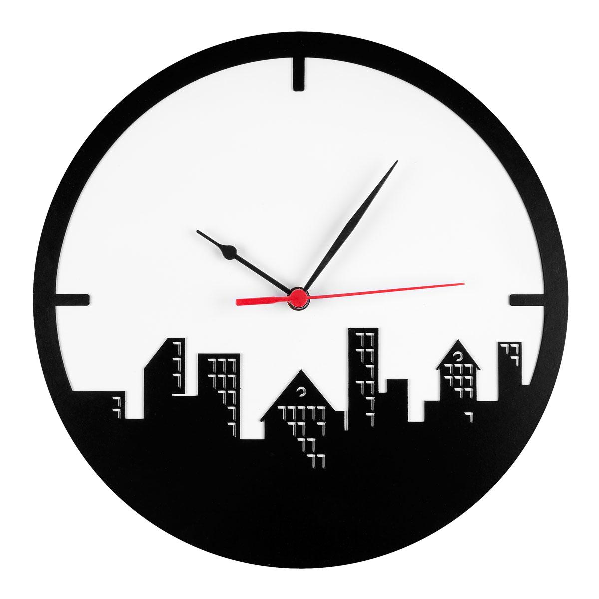 Часы настенные Miolla Город, цвет: белый, черныйCH008Оригинальные настенные часы круглой формы выполнены из стали. Часы имеют три стрелки - часовую, минутную и секундную и циферблат с цифрами. Необычное дизайнерское решение и качество исполнения придутся по вкусу каждому. Оформите свой дом таким интерьерным аксессуаром или преподнесите его в качестве презента друзьям, и они оценят ваш оригинальный вкус и неординарность подарка.