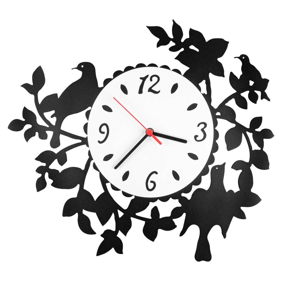Часы настенные Miolla СадCH009Оригинальные настенные часы круглой формы выполнены из стали. Часы имеют три стрелки - часовую, минутную и секундную и циферблат с цифрами. Необычное дизайнерское решение и качество исполнения придутся по вкусу каждому. Часы работают от 1 батарейки типа АА напряжением 1,5 В.