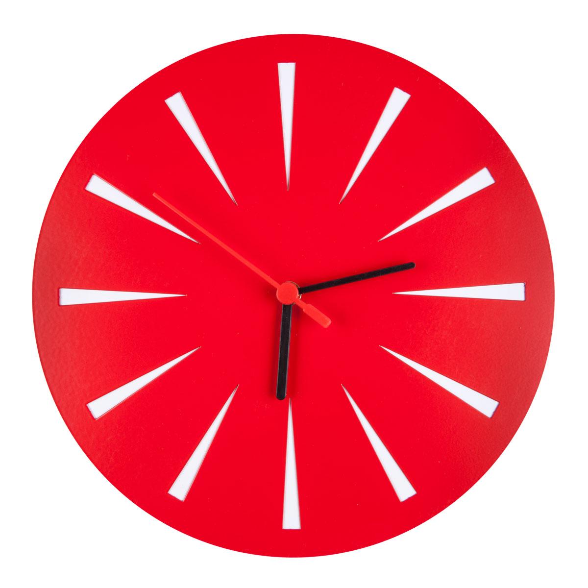 Часы настенные Miolla, цвет: красныйCH011Оригинальные настенные часы круглой формы выполнены из стали. Часы имеют три стрелки - часовую, минутную и секундную и циферблат с цифрами. Необычное дизайнерское решение и качество исполнения придутся по вкусу каждому. Часы работают от 1 батарейки типа АА напряжением 1,5 В.