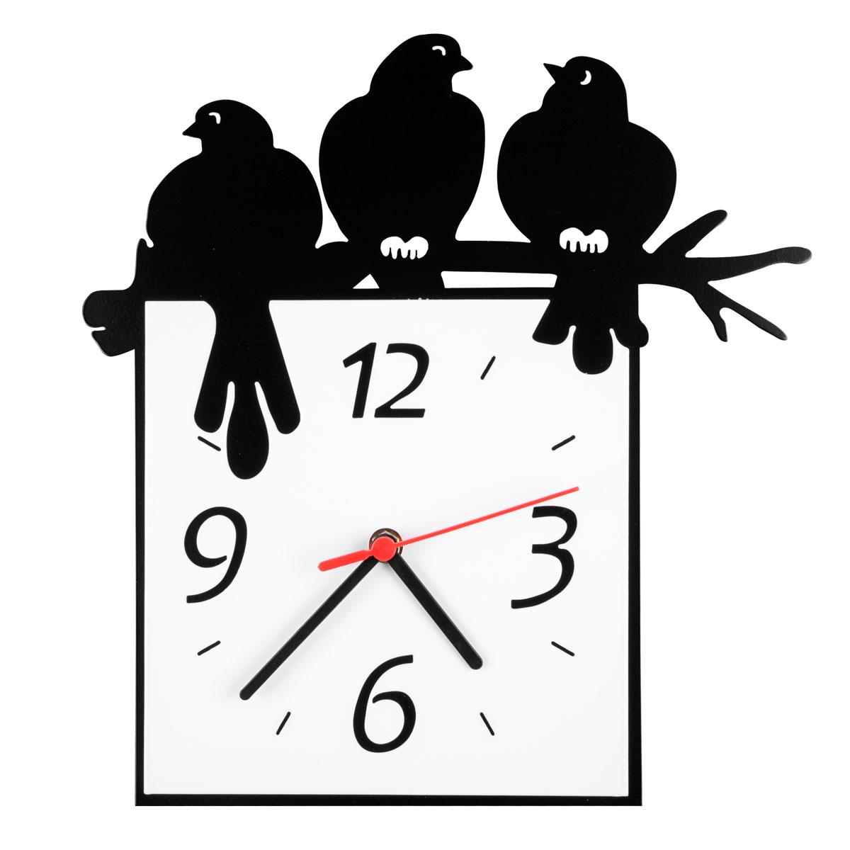 Часы настенные Miolla Птицы на веткеCH017Оригинальные настенные часы квадратной формы выполнены из стали. Часы имеют три стрелки - часовую, минутную и секундную и циферблат с цифрами. Необычное дизайнерское решение и качество исполнения придутся по вкусу каждому. Часы работают от 1 батарейки типа АА напряжением 1,5 В.