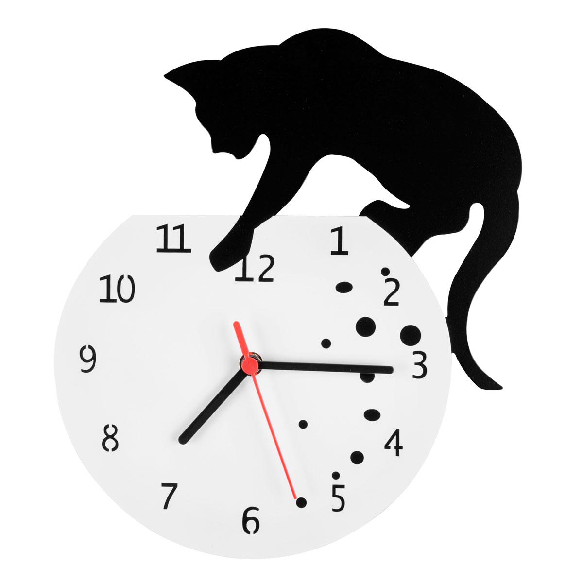Часы настенные Miolla Кот, цвет: белый, черныйCH018Оригинальные настенные часы круглой формы выполнены из стали. Часы имеют три стрелки - часовую, минутную и секундную и циферблат с цифрами. Необычное дизайнерское решение и качество исполнения придутся по вкусу каждому. Оформите свой дом таким интерьерным аксессуаром или преподнесите его в качестве презента друзьям, и они оценят ваш оригинальный вкус и неординарность подарка.
