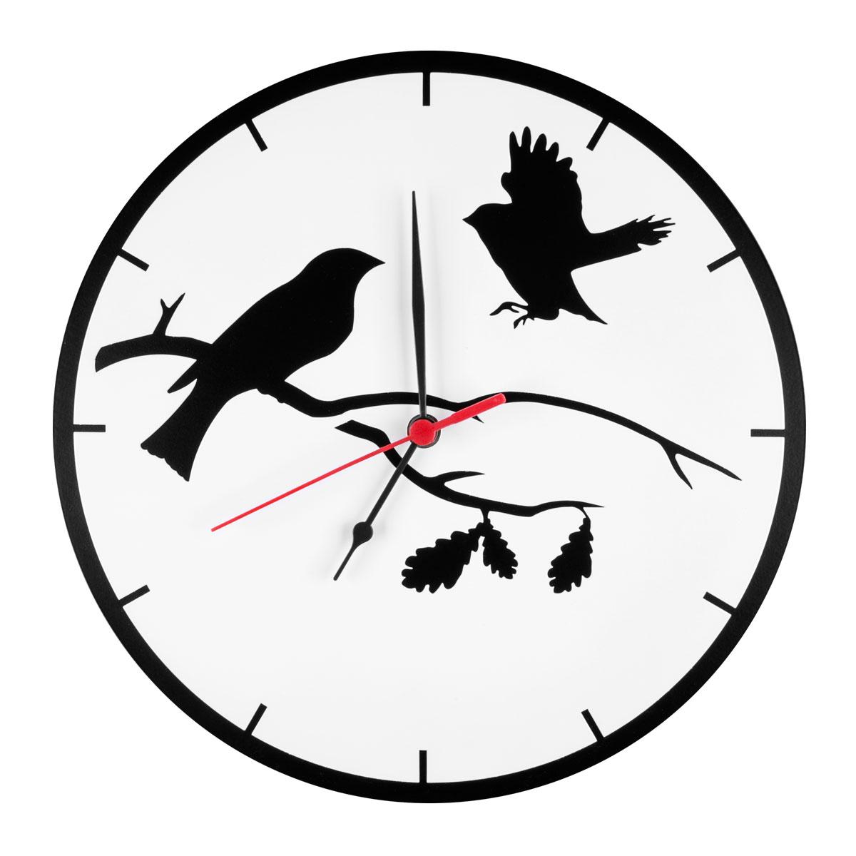 Часы настенные Miolla Птицы, цвет: белый, черныйCH019Оригинальные настенные часы круглой формы выполнены из стали. Часы имеют три стрелки - часовую, минутную и секундную и циферблат с цифрами. Необычное дизайнерское решение и качество исполнения придутся по вкусу каждому. Оформите свой дом таким интерьерным аксессуаром или преподнесите его в качестве презента друзьям, и они оценят ваш оригинальный вкус и неординарность подарка.