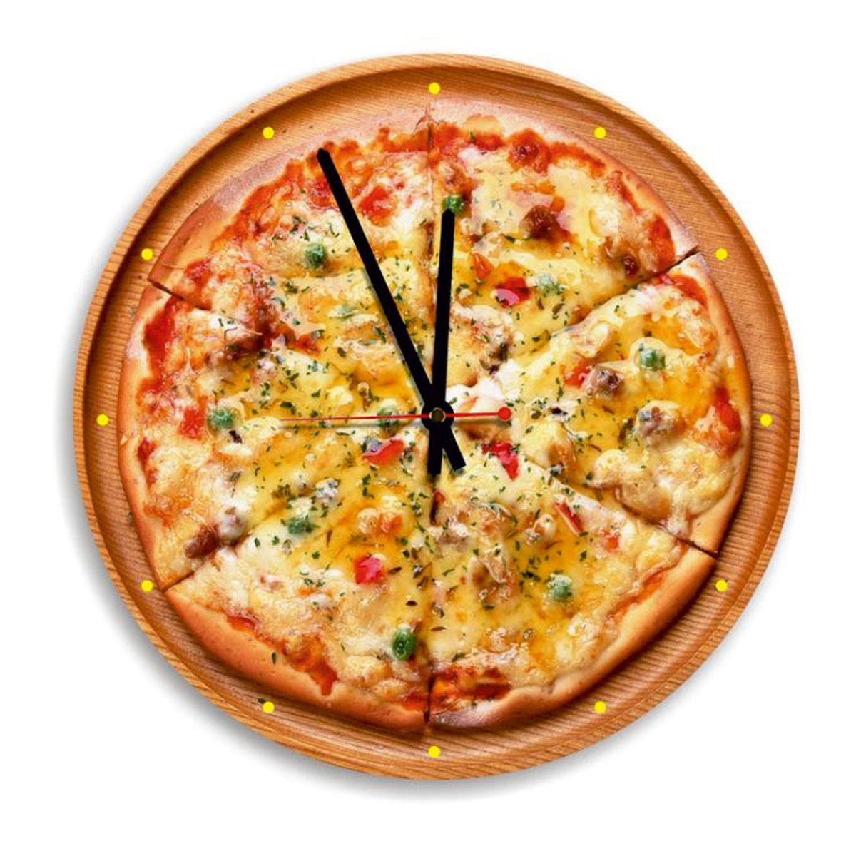 Часы настенные Miolla Пицца, цвет: оранжевый, коричневыйСК011 2049Оригинальные настенные часы круглой формы выполнены из закаленного стекла. Часы имеют три стрелки - часовую, минутную и секундную и циферблат с цифрами. Необычное дизайнерское решение и качество исполнения придутся по вкусу каждому. Оформите свой дом таким интерьерным аксессуаром или преподнесите его в качестве презента друзьям, и они оценят ваш оригинальный вкус и неординарность подарка. Диаметр: 28 см.