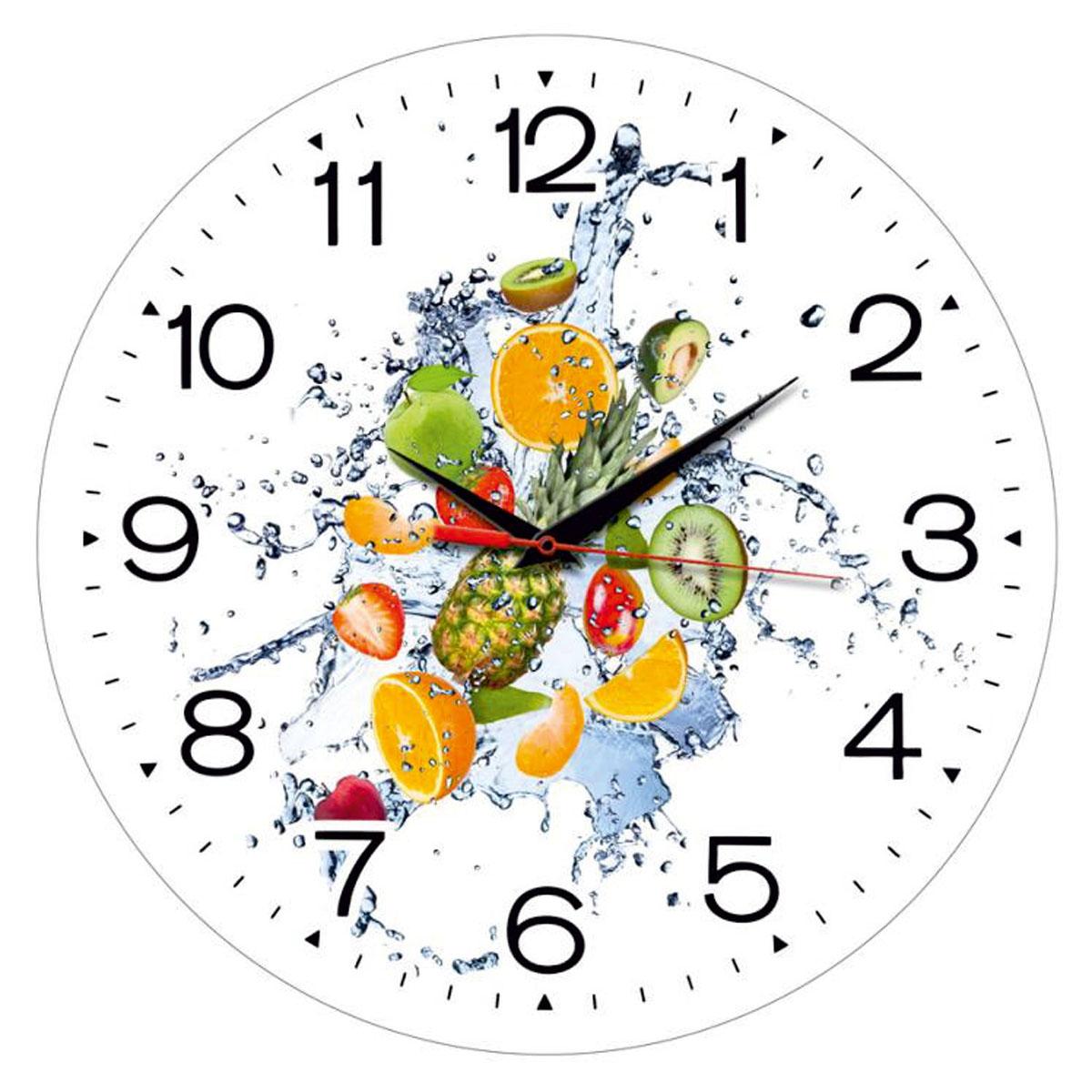 Часы настенные Miolla ФруктыСК011 2433Оригинальные настенные часы круглой формы выполнены из закаленного стекла. Часы имеют три стрелки - часовую, минутную и секундную и циферблат с цифрами. Необычное дизайнерское решение и качество исполнения придутся по вкусу каждому. Диаметр часов: 28 см. Часы работают от 1 батарейки типа АА напряжением 1,5 В.