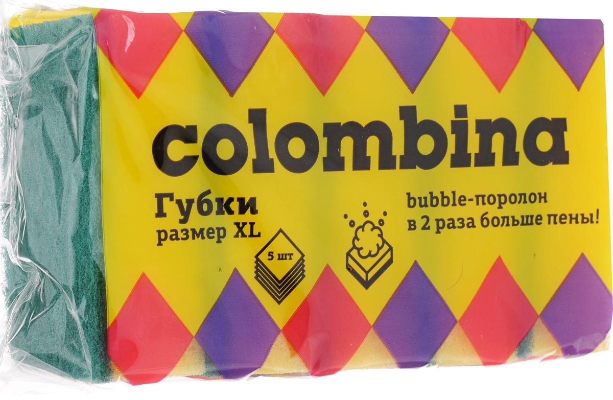 Губка для мытья посуды Colombina, 5 штК1.2Губки Colombina предназначены для мытья посуды и других поверхностей. Изделия выполнены из особого Buble-поролона, который образует густую пену. Мягкий слой используется для деликатной чистки. Жесткий абразивный слой предназначен для удаления сильных загрязнений. В комплекте 5 губок.