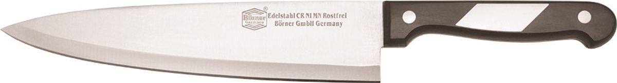 Нож Borner Ideal, шеф-разделочный, длина лезвия 20 см50297Нож изготовлен из прокатной коррозионностойкой высоколегированной стали марки X50CrMoV15. Твердость HRC 56+/-1. Ручка ножа сделана из бакелита. После использования нож рекомендуется сразу мыть и вытирать насухо. Не мыть в посудомоечной машине. Для заточки можно использовать: мусат, электроточилку, ножеточку, оселок. Рекомендуемый угол заточки (суммарный с 2-х сторон) 20° - 25°.