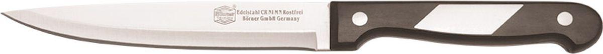Нож Borner Ideal, поварской, длина лезвия 15 см50495Нож изготовлен из прокатной коррозионностойкой высоколегированной стали марки X50CrMoV15. Твердость HRC 56+/-1. Ручка ножа сделана из бакелита. После использования нож рекомендуется сразу мыть и вытирать насухо. Не мыть в посудомоечной машине. Для заточки можно использовать: мусат, электроточилку, ножеточку, оселок. Рекомендуемый угол заточки (суммарный с 2-х сторон) 20° - 25°.