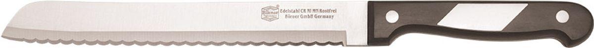 Нож Borner Ideal, хлебный, длина лезвия 20 см50594Нож изготовлен из прокатной коррозионностойкой высоколегированной стали марки X50CrMoV15. Твердость HRC 56+/-1. Ручка ножа сделана из бакелита. После использования нож рекомендуется сразу мыть и вытирать насухо. Не мыть в посудомоечной машине. Для заточки можно использовать: мусат, электроточилку, ножеточку, оселок. Рекомендуемый угол заточки (суммарный с 2-х сторон) 20° - 25°.