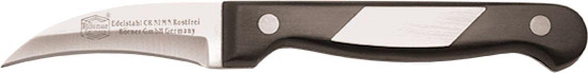 Нож Borner Ideal, картофельный, длина лезвия 8 см50693Нож изготовлен из прокатной коррозионностойкой высоколегированной стали марки X50CrMoV15. Твердость HRC 56+/-1. Ручка ножа сделана из бакелита. После использования нож рекомендуется сразу мыть и вытирать насухо. Не мыть в посудомоечной машине. Для заточки можно использовать: мусат, электроточилку, ножеточку, оселок. Рекомендуемый угол заточки (суммарный с 2-х сторон) 20° - 25°.