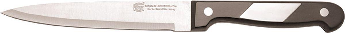 Нож Borner Ideal, универсальный, длина лезвия 13 см50891Нож изготовлен из прокатной коррозионностойкой высоколегированной стали марки X50CrMoV15. Твердость HRC 56+/-1. Ручка ножа сделана из бакелита. После использования нож рекомендуется сразу мыть и вытирать насухо. Не мыть в посудомоечной машине. Для заточки можно использовать: мусат, электроточилку, ножеточку, оселок. Рекомендуемый угол заточки (суммарный с 2-х сторон) 20° - 25°.