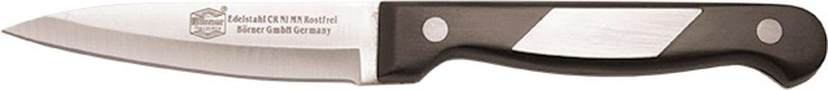 Нож Borner Ideal, для чистки, длина лезвия 9 см51096Нож изготовлен из прокатной коррозионностойкой высоколегированной стали марки X50CrMoV15. Твердость HRC 56+/-1. Ручка ножа сделана из бакелита. После использования нож рекомендуется сразу мыть и вытирать насухо. Не мыть в посудомоечной машине. Для заточки можно использовать: мусат, электроточилку, ножеточку, оселок. Рекомендуемый угол заточки (суммарный с 2-х сторон) 20° - 25°.
