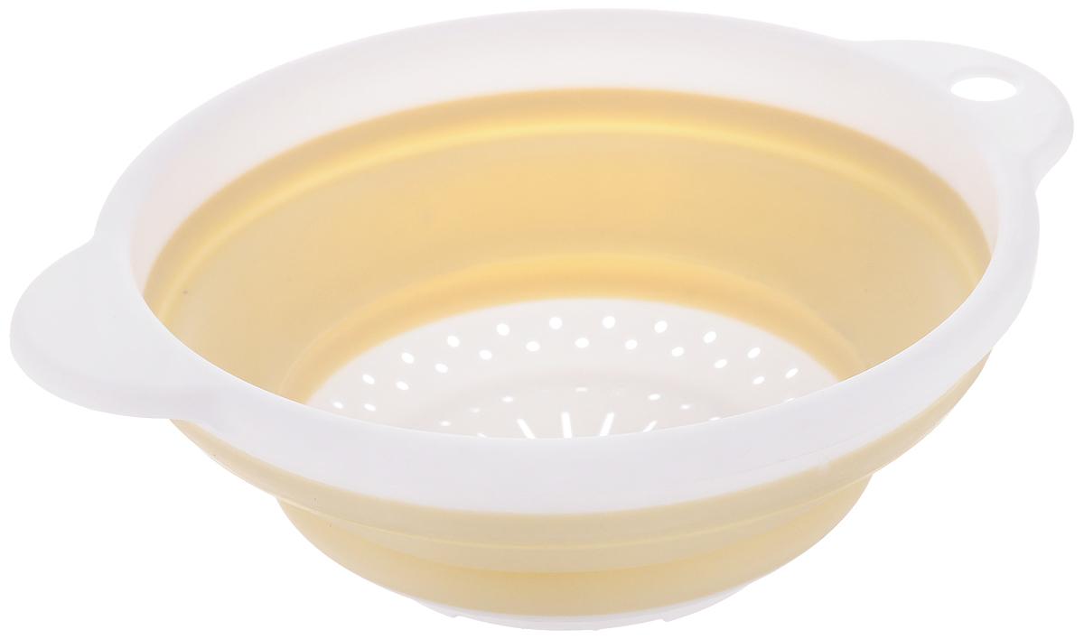 Дуршлаг Идея, складной, цвет: бежевый, белый. CLD-02CLD-02_бежевый, белыйДуршлаг складной Идея, изготовленный из высококачественного пищевого пластика и силикона, станет полезным приобретением для вашей кухни. Он идеально подходит для процеживания, ополаскивания макарон, овощей, фруктов. Нельзя мыть и сушить в посудомоечной машине. Внутренний диаметр: 18 см. Размер (в разложенном виде): 23 х 20 х 9 см. Размер (в сложенном виде): 23 х 20 х 3 см.