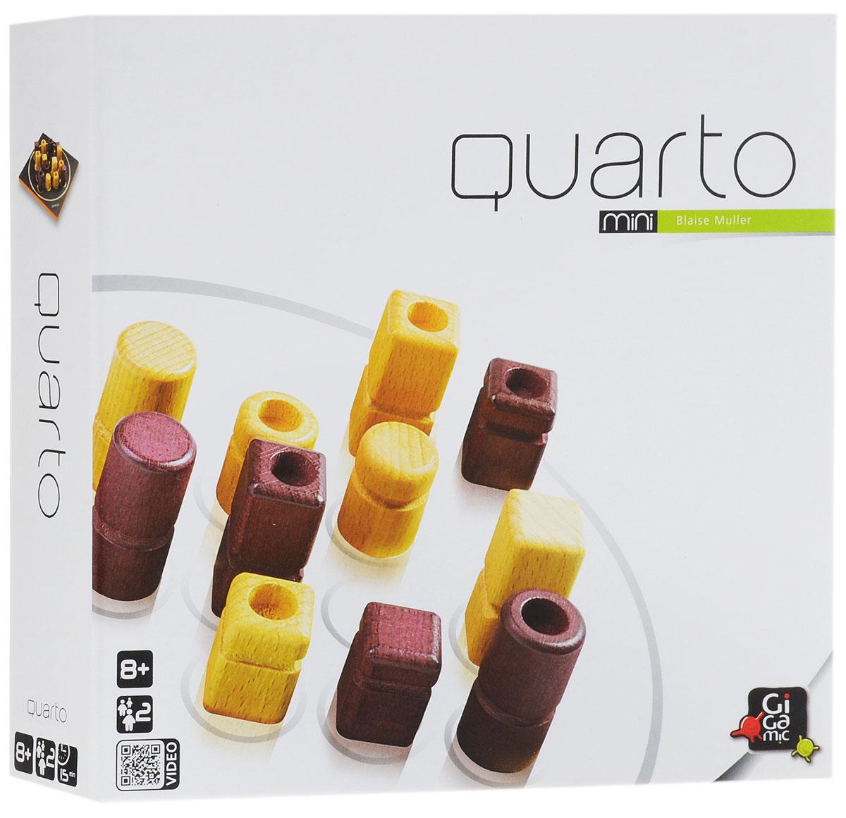 Gigamic Настольная игра Кварто мини-версияР61781Настольная мини-игра Кварто (Quarto Mini) - это прекрасный способ времяпрепровождения, такое развлечение придется по душе, как взрослым, так и детям. Суть игры заключается в следующем: в игре присутствует 16 фигур, отличающихся четырьмя признаками, ваша задача - собрать ряд из четырех фигур, хотя бы с одним общим признаком. Это может быть ряд из светлых фигур или из темных, из низких или высоких, из фигур с выемкой или фигур без нее, из круглых или квадратных. Казалось бы, все просто, но есть одна проблема - фигуру, которой вы будете делать ход, выбирает соперник. В комплект игры входят: игровое поле, 16 фигурок, мешочек для хранения и правила игры на русском языке. Количество: 2-4 игрока. Время игры: 15 минут.