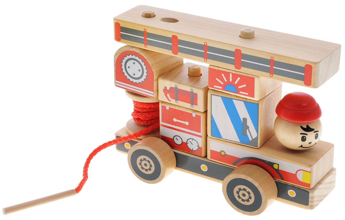 Мир деревянных игрушек Конструктор Пожарная машинаД060Яркий разноцветный конструктор-автомобиль изготовлен из экологически чистой древесины. Конструктор состоит из неразборного основания на колесиках и набора деталей различной формы, которые устанавливаются на основании по принципу пирамидки (надеваются на деревянные столбики). Из этих деталей получается красивая грузовая машина, которую можно катать. Игра с таким конструктором способствует развитию у ребенка внимания, усидчивости, пространственного мышления, координации движений, воображения, моторики пальчиков. Яркие детали конструктора познакомят ребенка с основными цветами.