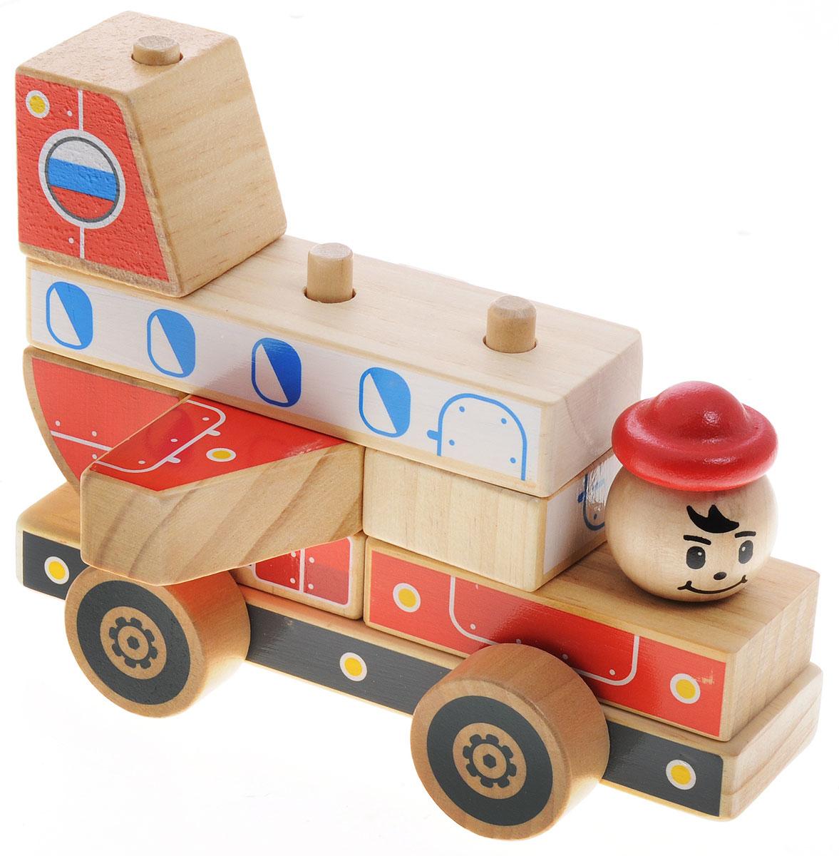 Мир деревянных игрушек Конструктор СамолетД062Яркий разноцветный конструктор-автомобиль изготовлен из экологически чистой древесины. Конструктор состоит из неразборного основания на колесиках и набора деталей различной формы, которые устанавливаются на основании по принципу пирамидки (надеваются на деревянные столбики). Из этих деталей получается красивая грузовая машина, которую можно катать. Игра с таким конструктором способствует развитию у ребенка внимания, усидчивости, пространственного мышления, координации движений, воображения, моторики пальчиков. Яркие детали конструктора познакомят ребенка с основными цветами.