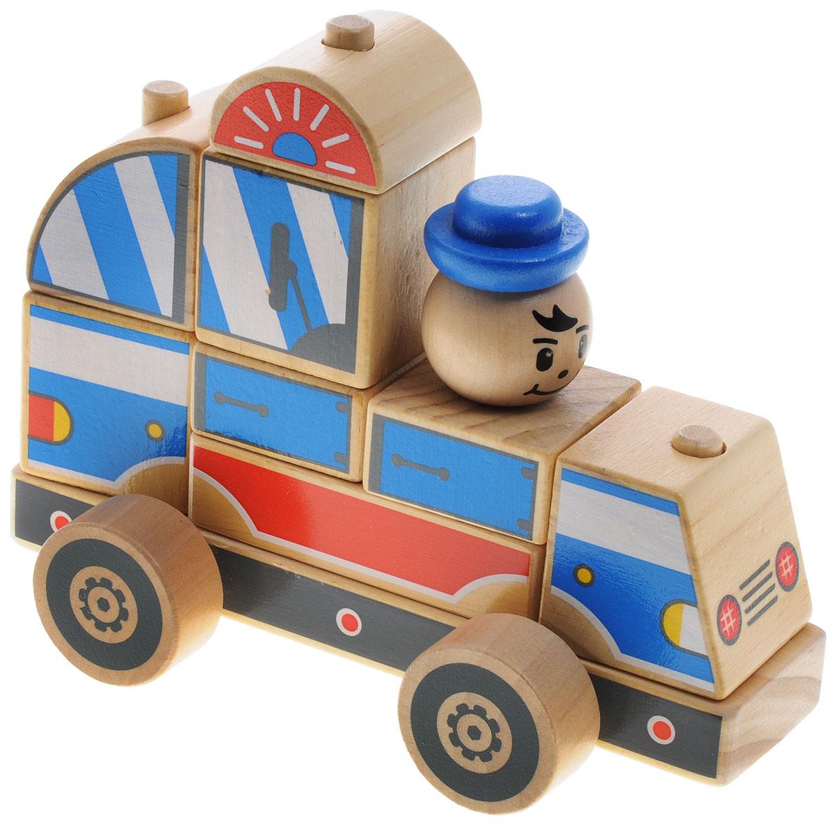 Мир деревянных игрушек Конструктор Полицейская машинаД059Яркий разноцветный конструктор-автомобиль изготовлен из экологически чистой древесины. Конструктор состоит из неразборного основания на колесиках и набора деталей различной формы, которые устанавливаются на основании по принципу пирамидки (надеваются на деревянные столбики). Из этих деталей получается красивая грузовая машина, которую можно катать. Игра с таким конструктором способствует развитию у ребенка внимания, усидчивости, пространственного мышления, координации движений, воображения, моторики пальчиков. Яркие детали конструктора познакомят ребенка с основными цветами. Характеристики: Размер упаковки: 17 см x 13 см x 9 см. Размер автомобиля в собранном виде: 16 см x 12 см x 8,5 см.