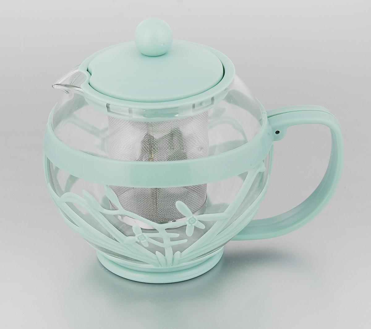 Чайник заварочный Menu Мелисса, с фильтром, цвет: прозрачный, серо-зеленый , 750 млMLS-75_серо-зеленыйЧайник Menu Мелисса изготовлен из прочного стекла и пластика. Он прекрасно подойдет для заваривания чая и травяных напитков. Классический стиль и оптимальный объем делают его удобным и оригинальным аксессуаром. Изделие имеет удлиненный металлический фильтр, который обеспечивает высокое качество фильтрации напитка и позволяет заварить чай даже при небольшом уровне воды. Ручка чайника не нагревается и обеспечивает безопасность использования. Нельзя мыть в посудомоечной машине. Диаметр чайника (по верхнему краю): 8 см. Высота чайника (без учета крышки): 11 см. Размер фильтра: 6 х 6 х 7,2 см.