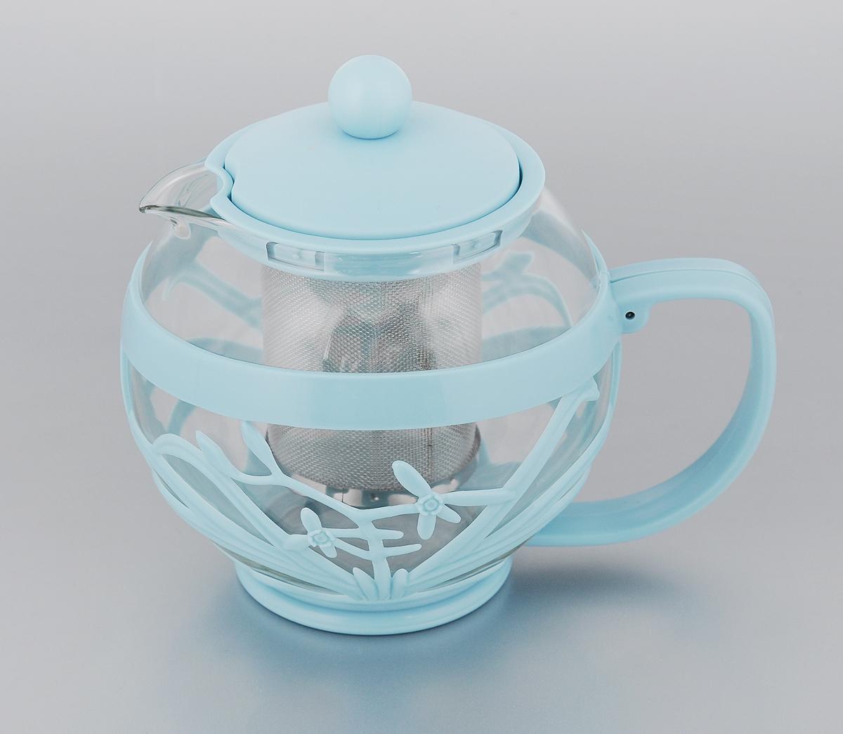 Чайник заварочный Menu Мелисса, с фильтром, цвет: прозрачный, голубой, 750 млMLS-75_голубойЧайник Menu Мелисса изготовлен из прочного стекла и пластика. Он прекрасно подойдет для заваривания чая и травяных напитков. Классический стиль и оптимальный объем делают его удобным и оригинальным аксессуаром. Изделие имеет удлиненный металлический фильтр, который обеспечивает высокое качество фильтрации напитка и позволяет заварить чай даже при небольшом уровне воды. Ручка чайника не нагревается и обеспечивает безопасность использования. Нельзя мыть в посудомоечной машине. Диаметр чайника (по верхнему краю): 8 см. Высота чайника (без учета крышки): 11 см. Размер фильтра: 6 х 6 х 7,2 см.