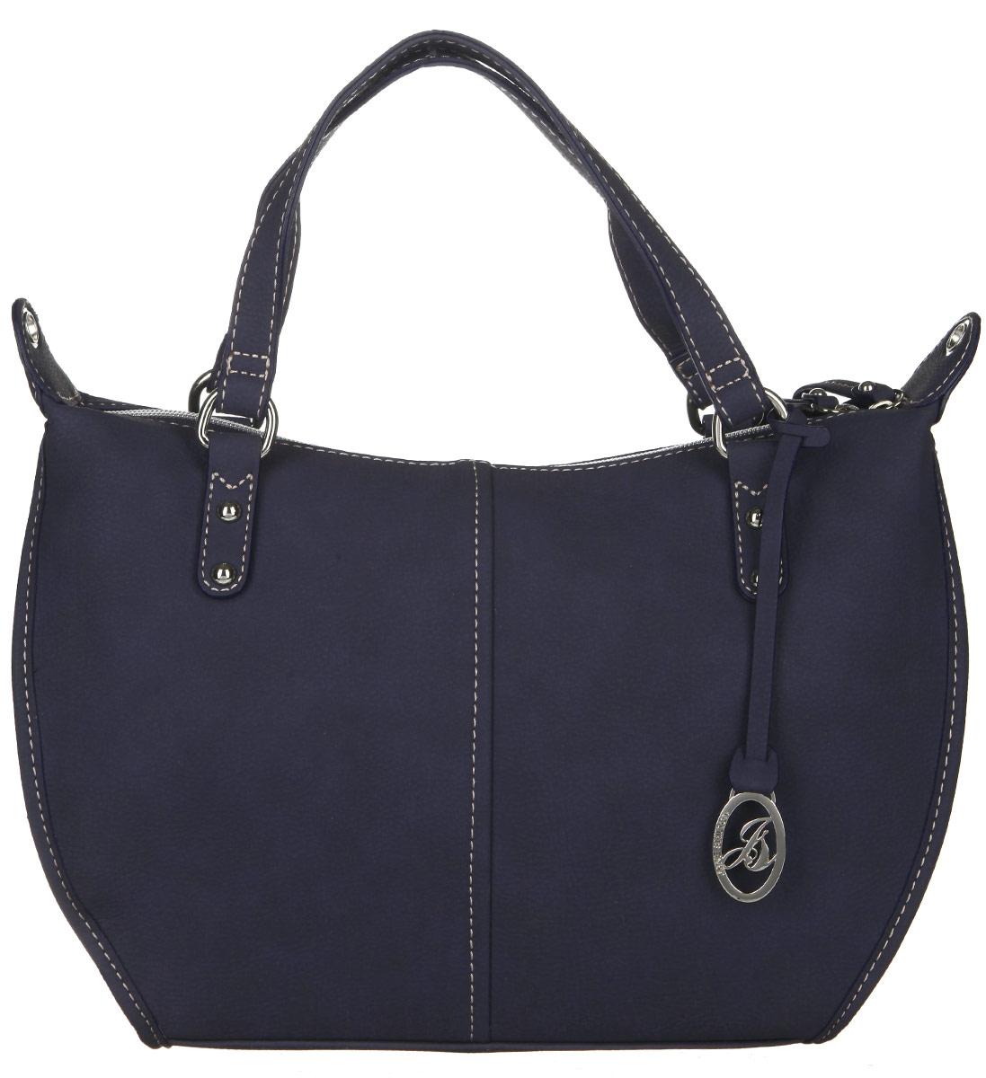 Сумка женская Jane Shilton, цвет: серо-синий. 20932093blueСтильная женская сумка Jane Shilton выполнена из искусственной кожи и дополнена фирменным брелоком. Изделие имеет одно основное отделение, разделенное пополам карманом-средником на застежке-молнии. Закрывается изделие на застежку-молнию. Внутри находятся прорезной карман на застежке-молнии и накладной открытый карман. Снаружи, на задней стенке расположен прорезной карман на застежке-молнии. Модель оснащена двумя удобными ручками. В комплект входит съемный плечевой ремень. Роскошная сумка внесет элегантные нотки в ваш образ и подчеркнет ваше отменное чувство стиля.
