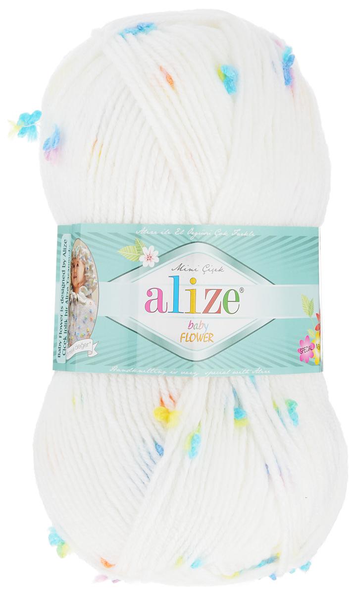 Пряжа для вязания Alize Baby Flower, цвет: белый, голубой, желтый (5380), 210 м, 100 г, 5 шт582006_5380Alize Baby Flower - это фантазийная пряжа. Она будет хорошо смотреться на всевозможных детских изделиях (жилетах, платьицах, а также подходит для вязания шапок, шарфов, снудов). Качественно скрученная ровная нить состоит из 94% акрила и 6% полиамида, с пришитыми по всей длине маленькими цветочками. Теплая, мягкая пряжа предназначена для ручного вязания. Рекомендуемый размер спиц: № 3,5-4,5 мм, Рекомендуемый размер крючка: № 2-3 мм. Состав: 94% акрил, 6% полиамид.