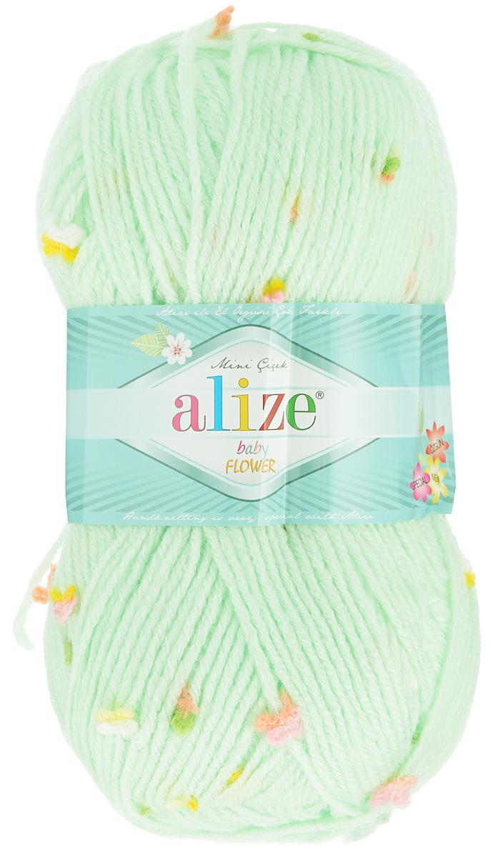 Пряжа для вязания Alize Baby Flower, цвет: светло-зеленый, белый, розовый (5411), 210 м, 100 г, 5 шт582006_5411Alize Baby Flower - это фантазийная пряжа. Она будет хорошо смотреться на всевозможных детских изделиях (жилетах, платьицах, а также подходит для вязания шапок, шарфов, снудов). Качественно скрученная ровная нить состоит из 94% акрила и 6% полиамида, с пришитыми по всей длине маленькими цветочками. Теплая, мягкая пряжа предназначена для ручного вязания. Рекомендуемый размер спиц: № 3,5-4,5 мм, Рекомендуемый размер крючка: № 2-3 мм. Состав: 94% акрил, 6% полиамид.
