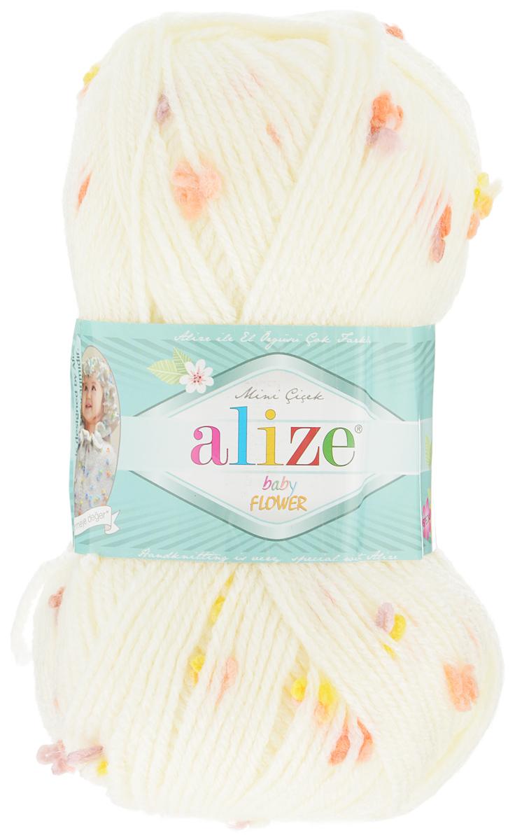 Пряжа для вязания Alize Baby Flower, цвет: молочный, сиреневый, оранжевый (5389), 210 м, 100 г, 5 шт582006_5389Alize Baby Flower - это фантазийная пряжа. Она будет хорошо смотреться на всевозможных детских изделиях (жилетах, платьицах, а также подходит для вязания шапок, шарфов, снудов). Качественно скрученная ровная нить состоит из 94% акрила и 6% полиамида, с пришитыми по всей длине маленькими цветочками. Теплая, мягкая пряжа предназначена для ручного вязания. Рекомендуемый размер спиц: № 3,5-4,5 мм, Рекомендуемый размер крючка: № 2-3 мм. Состав: 94% акрил, 6% полиамид.