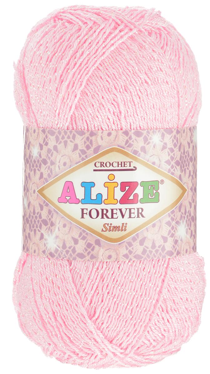 Пряжа для вязания Alize Forever Simli, цвет: нежно-розовый (32), 280 м, 50 г, 5 шт697549_32Пряжа для вязания Alize Forever Simli- это тщательно обработанная акриловая пряжа, которая приобретает вид мерсеризованной нити. Красивая классическая пряжа с люрексом, прочная, мягкая и шелковистая. Люрекс придаст вашему изделию индивидуальность и яркость. Благодаря удачно подобранной тон в тон блестящей нити, создается впечатление, что пряжа светится изнутри. Пряжа Alize Forever Simli предназначена для вязания летних и весенних вещей и прекрасно подойдет как для спиц, так и для крючка. Из такой пряжи прекрасно получаются нарядные топы, ажурные кофточки, платья и костюмы, а также ее можно использовать для отделки изделий. Рекомендованные спицы 2-3,5 мм, крючок 0,75-1,5 мм. Состав: 96% акрил, 4% люрекс.