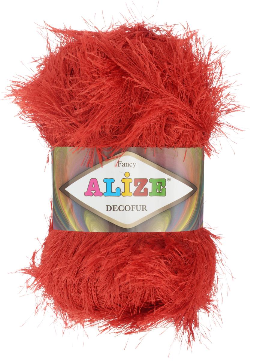 Пряжа для вязания Alize Decofur, цвет: красный (56), 110 м, 100 г, 5 шт364128_56Фантазийная пряжа-травка Decofur изготовлена из полиэстера. Предназначена для ручного вязания самостоятельных пушистых изделий и идеально подходит для отделки. Это могут быть нарядные кофточки, куртки, накидки, шарфы и шапки, шали, карнавальные костюмы, предметы домашнего интерьера, игрушки. Нить равномерной толщины с ворсинками чередующейся длины 1,5 см и 3 см. Рекомендуемый размер спиц: №6-8. Рекомендуемый размер крючка: №3-4. Состав: 100% полиэстер.